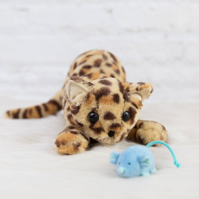 Manhattan Toy Loki Leopard Stuffed Animal Cat with Magnetic Front Paws and Magnetic Mouse Toy