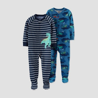 Baby Boys' Stripe Dino Footed Pajama - Just One You® made by carter's Black 9M