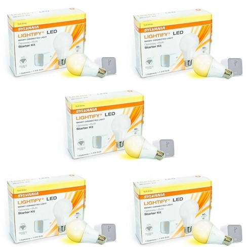 Sylvania Lightify LED Smart WIFI Connection Gateway A19 Bulb Starter Kit  5 Pack - image 1 of 3