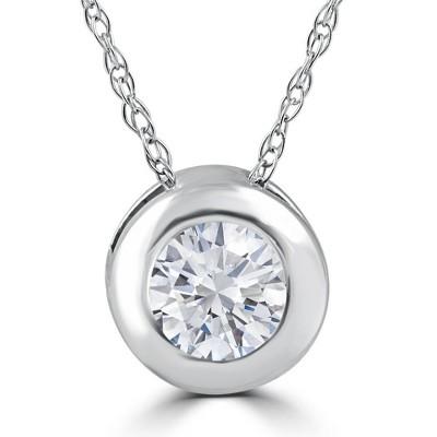 Pompeii3 1/3ct Round Bezel Solitaire Diamond Pendant Necklace 14K White Gold