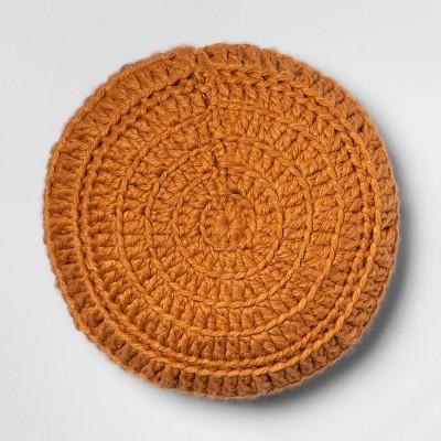 Hand Crochet Round Pillow Ginger - Opalhouse™