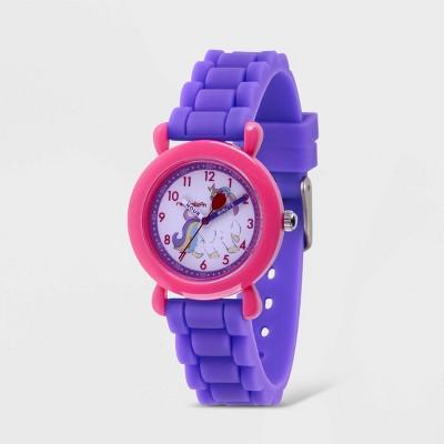Girls' Red Balloon Unicorn Plastic Time Teacher Silicone Strap Watch - Purple
