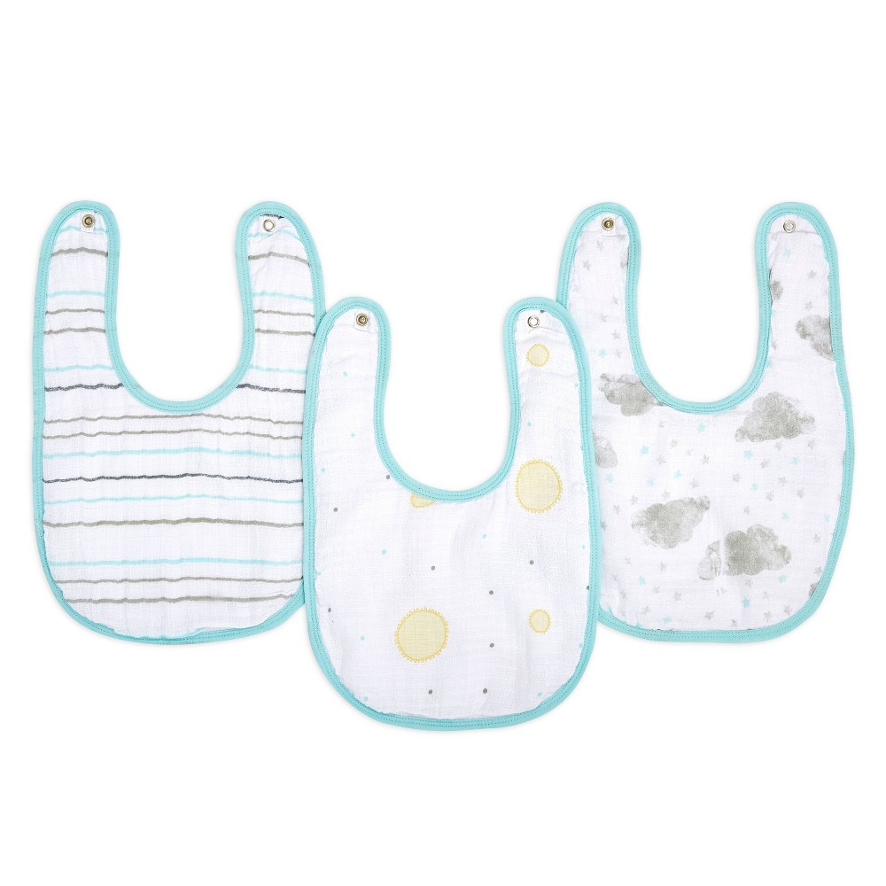 Image of Aden By Aden + Anais Essentials Water Resistant Snap Bib Master - Partly Sunny - 3pk