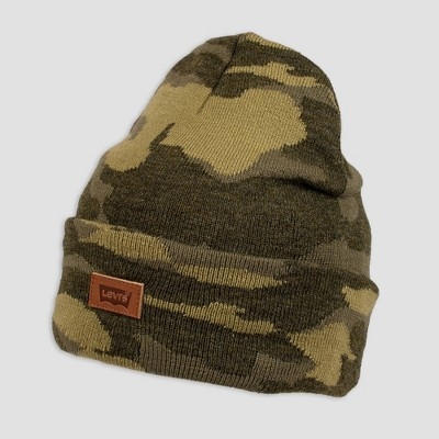 DENIZEN® from Levi's® Men's Camo Print Leather Patch Beanie - White One Size