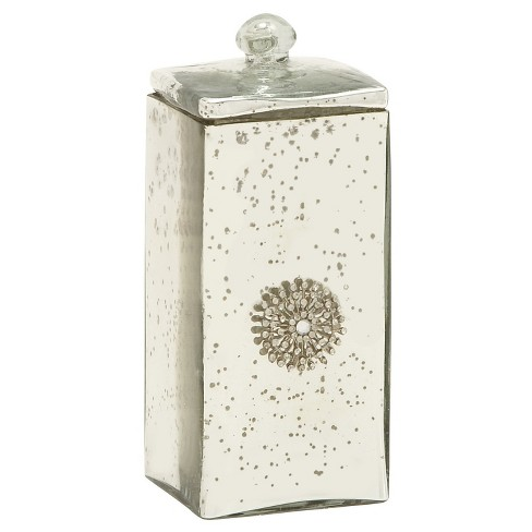 "Classic Modern Tall Hand Molded Silver Polished Glass Home Dcor Box (10"") - Olivia & May - image 1 of 2"