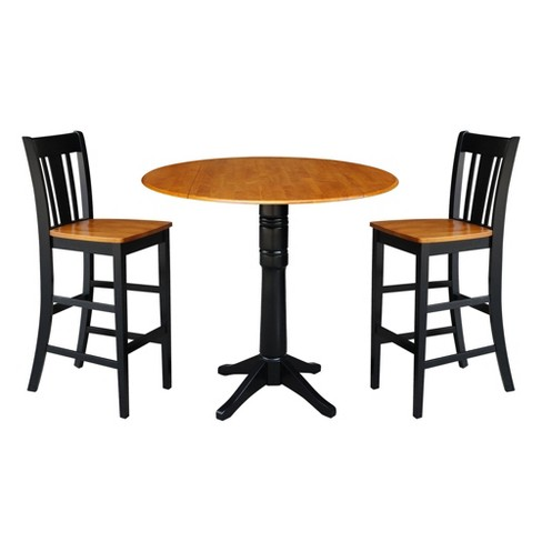 "42.3"" Round Pedestal Bar Height Table with 2 Bar Height Stools Natural/Black - International Concepts - image 1 of 4"