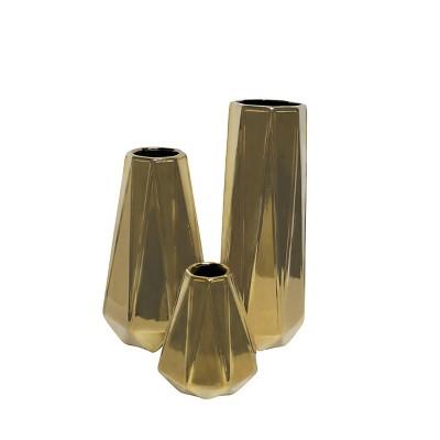 Set of 3 Decorative Glam Ceramic Vases Gold - Olivia & May