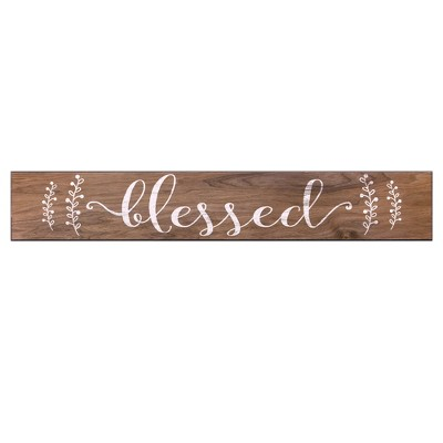 6 x36  Blessed Rustic Wood Wall Art Brown - Patton Wall Decor