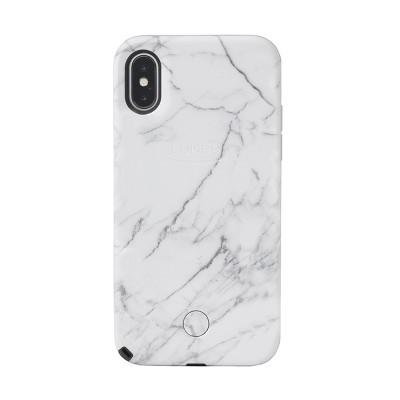 LuMee Selfie iPhone Xs / X Marble Case - White Marble