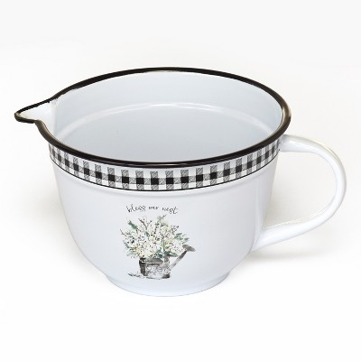 "Lakeside Enamel Batter Bowl with Country Checker Pattern, Sentiment - ""Bless Our Nest"""
