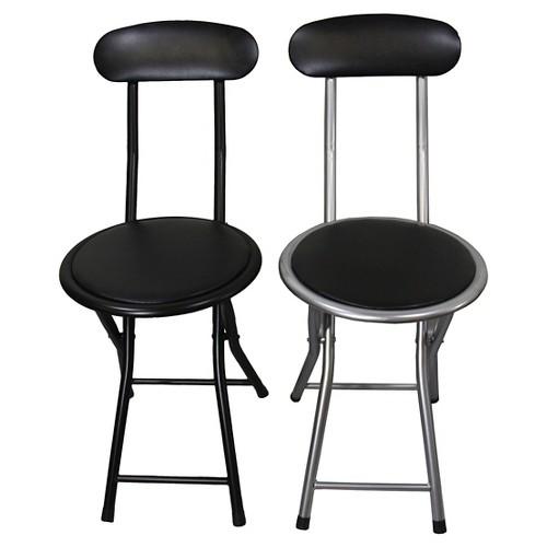 2 Piece Folding Chair Black/Silver - Ore International