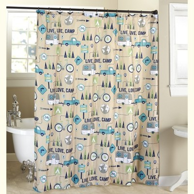Lakeside Live Love Camp Bathroom Shower Curtain with 12-Hole Grommet Top