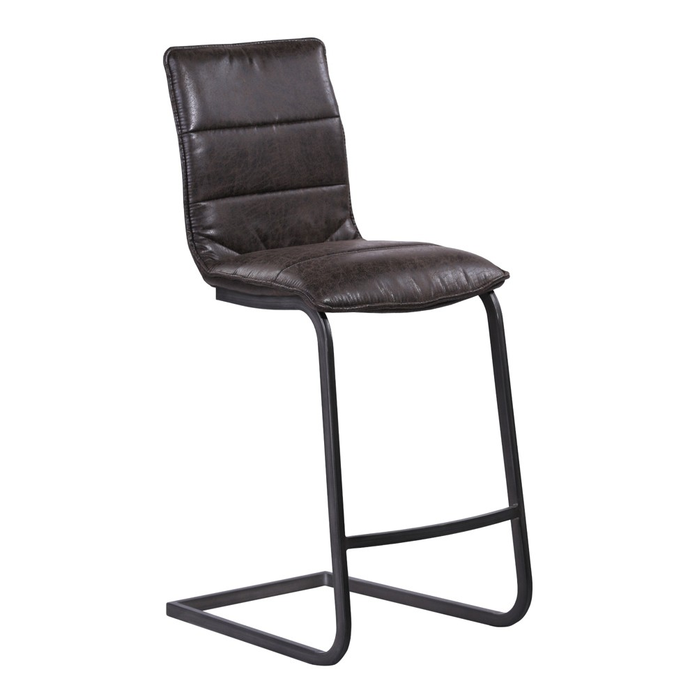 "Image of ""30"""" Armen Living Newark Contemporary Bar Height Barstool In Gray Powder Coated Finish and Espresso"""