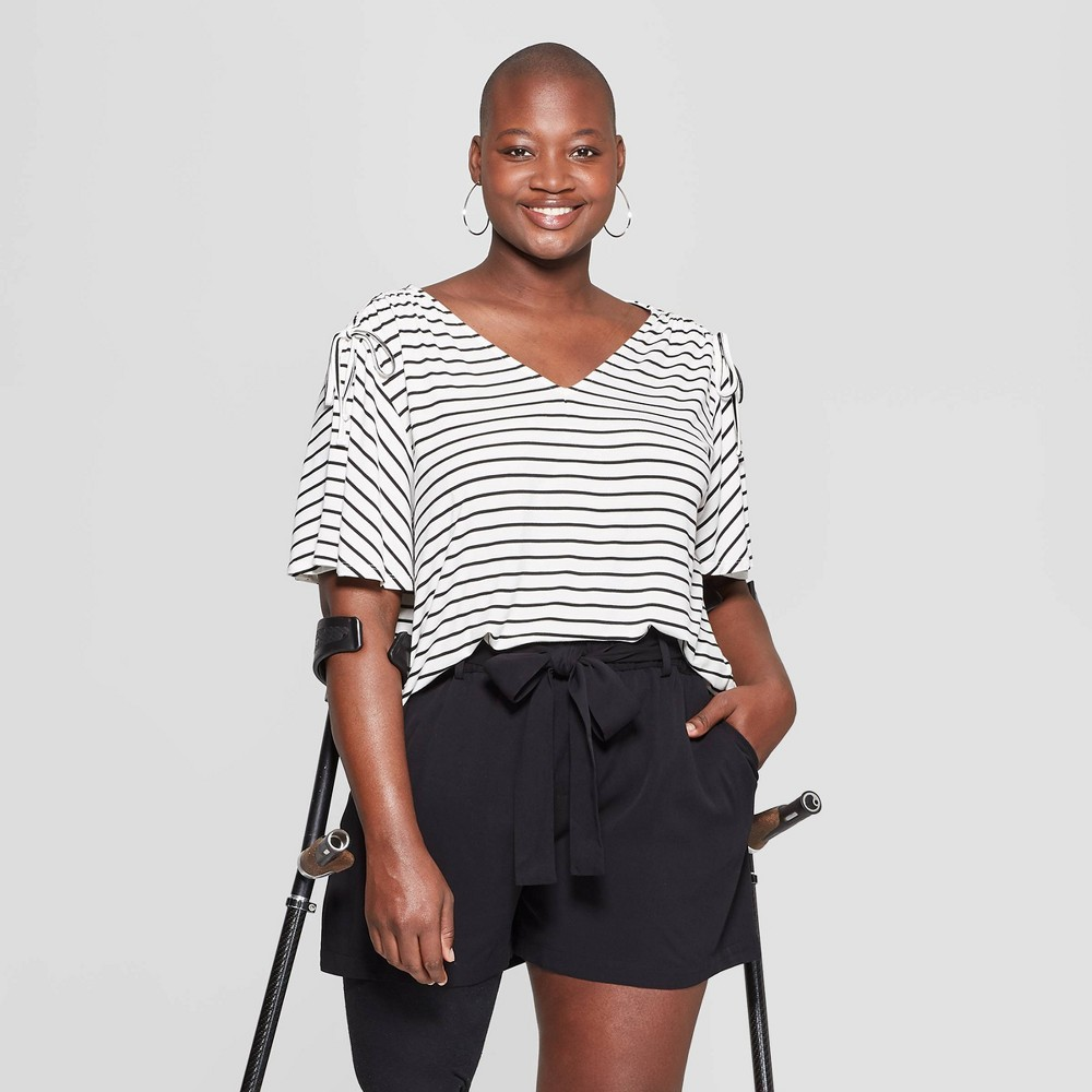 Women's Plus Size Striped Short Sleeve Ruched Shoulder Knit T-Shirt - Ava & Viv Cream/Black X, Beige
