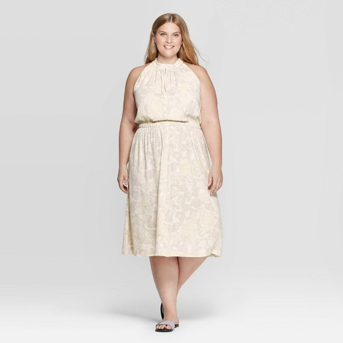 Women\'s Plus Size Printed Sleeveless Halter Neck Shirred Midi Dress -  Prologue™ Cream X