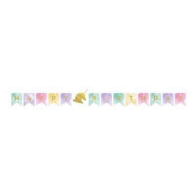"""Happy Birthday"" Unicorn Sparkle Party Banner"