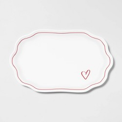 "14"" x 8.5"" Melamine Heart Detail Serving Tray - Opalhouse™"