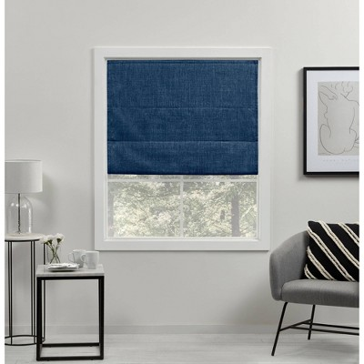 """64""""x34"""" Acadia Total Blackout Roman Curtain Shades Chambray - Exclusive Home"""