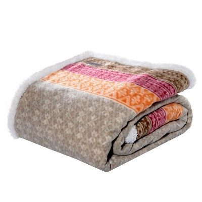 "Khaki Fair Isle Sherpa Throw (50 X 70"") - Eddie Bauer"