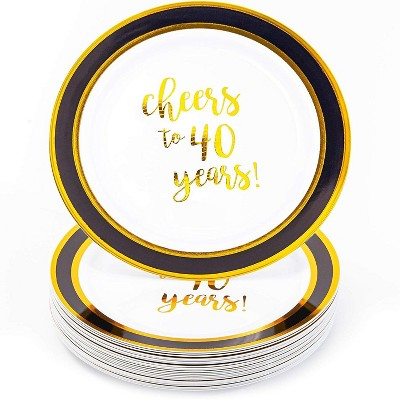 """Juvale 24x Gold 40th Birthday Disposable Plastic Dinner Plates for Parties Cheers to 40 Years 9"""""""