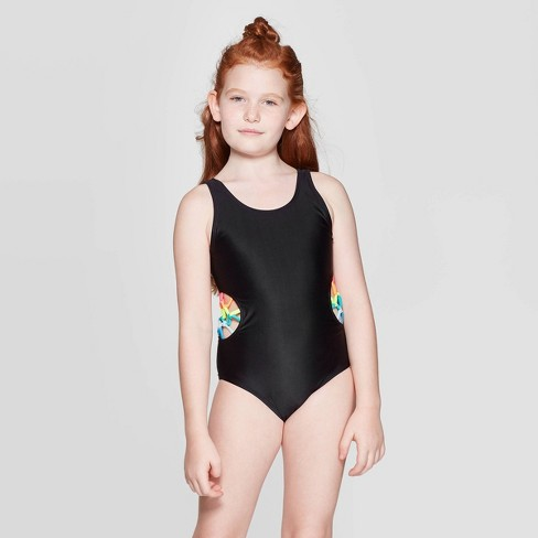 Girls' What A Catch One Piece Swimsuit - art class™ Black - image 1 of 3
