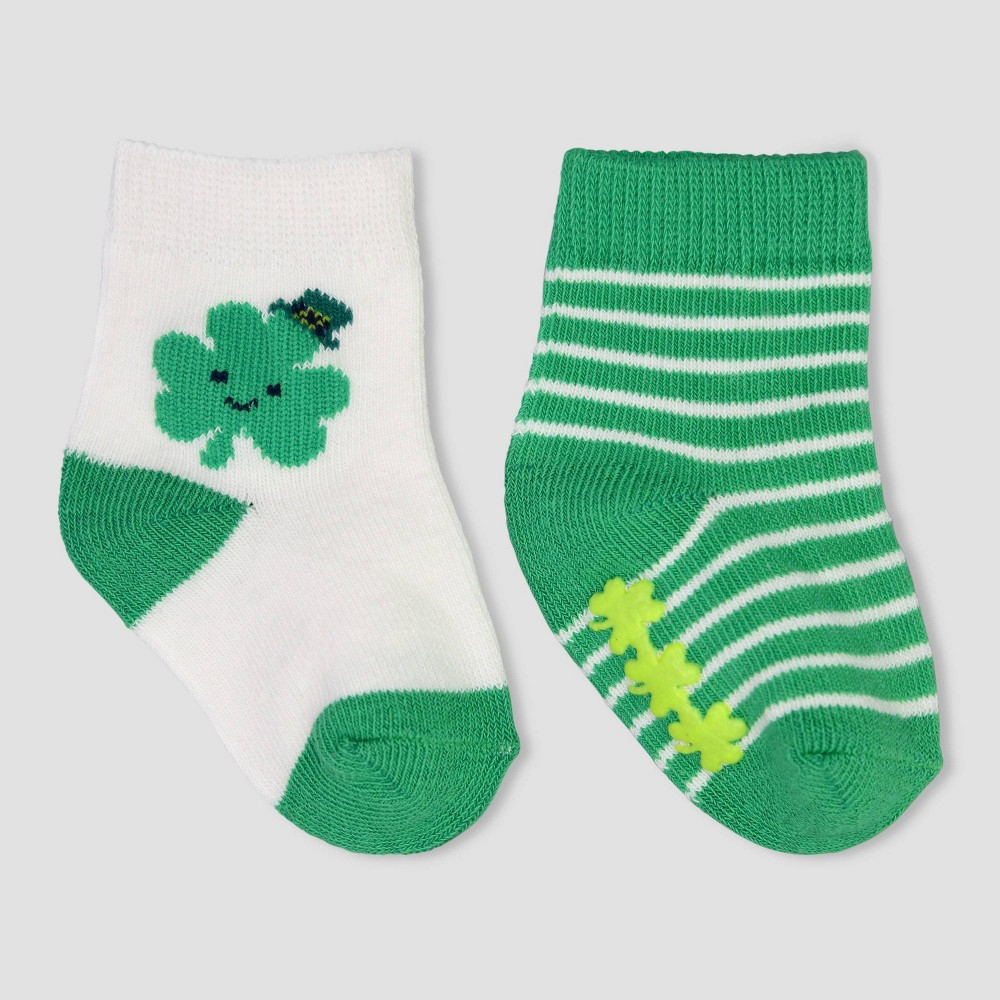 Image of Baby 2pk Socks - Just One You made by carter's Green 0-6M, Kids Unisex, MultiColored