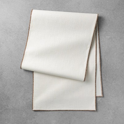 Edge Stitch Table Runner Sour Cream/Pumpkin Brown - Hearth & Hand™ with Magnolia