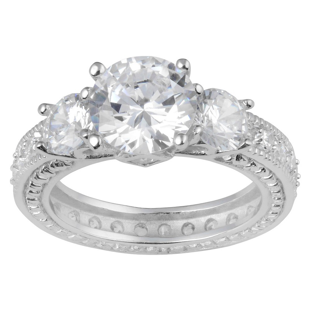 5 1/3 CT. T.W. Round-Cut CZ Basket Set Three-stone Engagement Ring in Sterling Silver - Silver, 5, Girl's