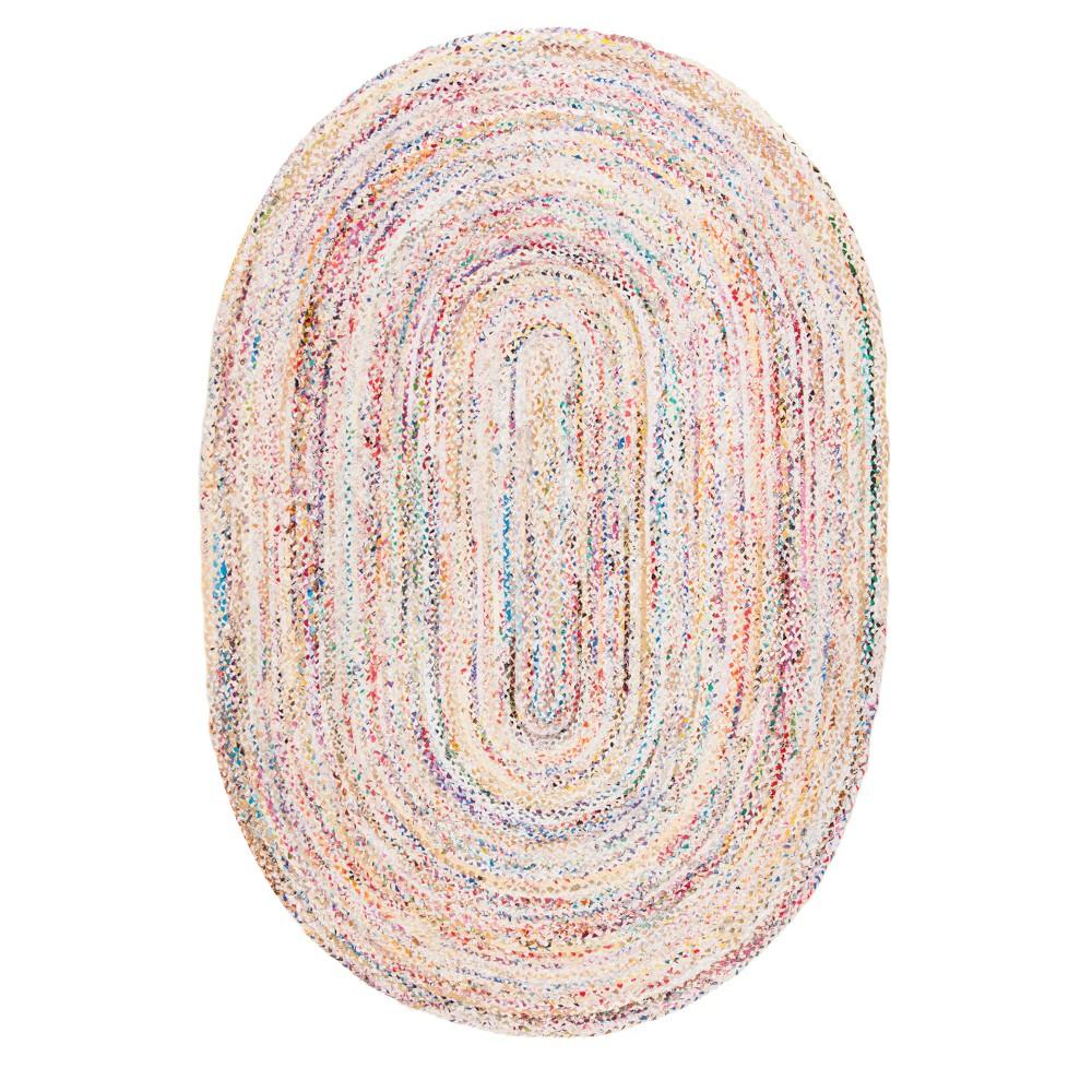 Ivory Swirl Woven Oval Area Rug 6'X9' - Safavieh, Ivorynmulti-Colored