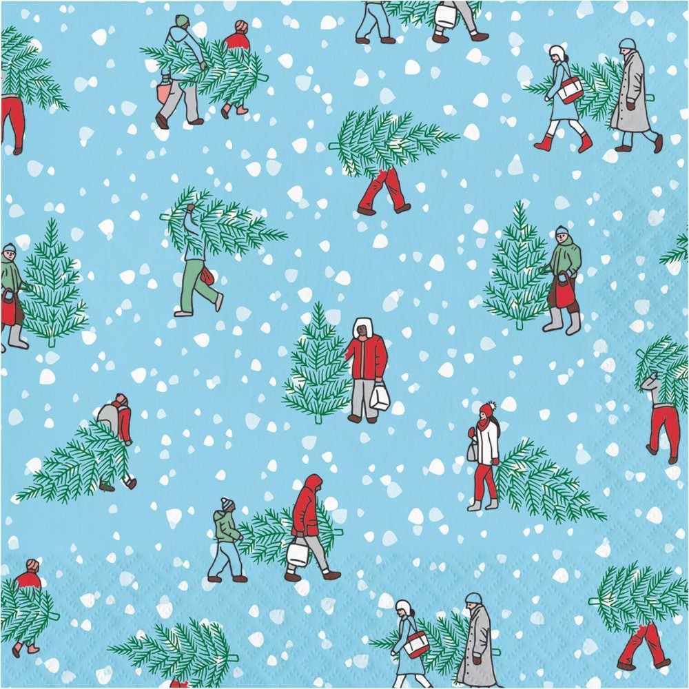 Image of 48ct Home for the Holidays Napkins, Blue Green Red