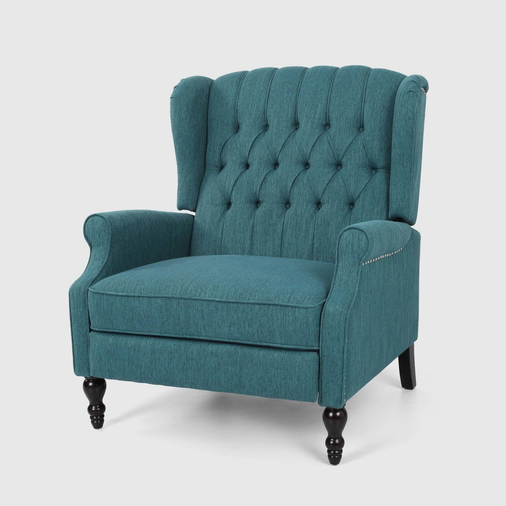 Apaloosa Oversized Wingback Push Back Recliner 160 Teal Christopher Knight Home