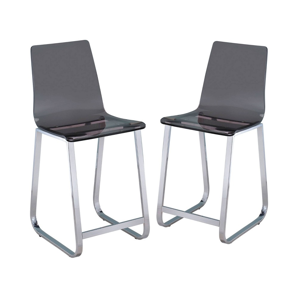 Set of 2 Haven Chic Acrylic Counter Height Chair Smoke - ioHOMES, Light Gray
