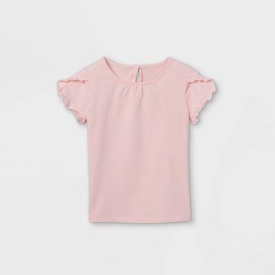 OshKosh B'gosh Toddler Girls' Ruffle Short Sleeve T-Shirt - Pink