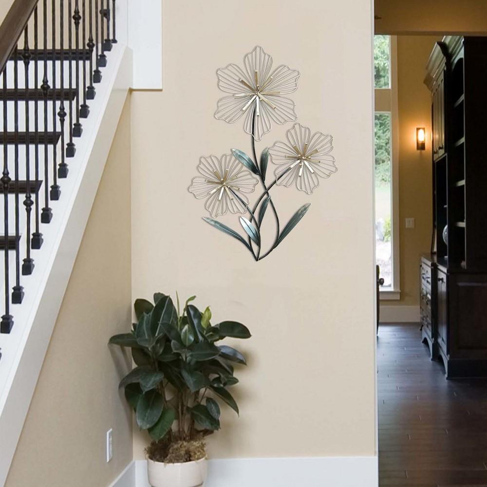 Tri Flower Wall Decor - Stratton Home Decor, Blue Silver