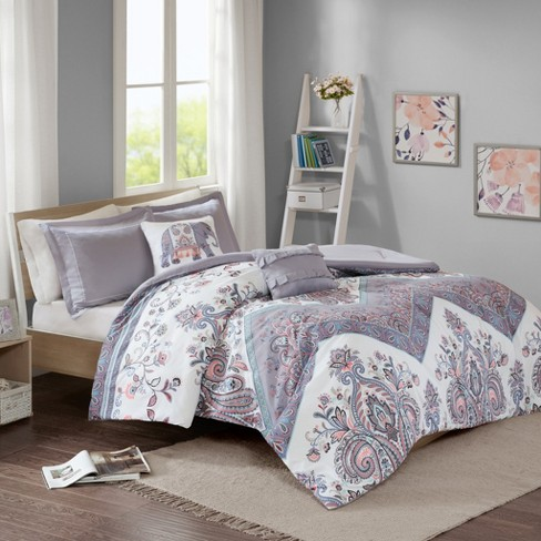 Twin/Twin XL 4pc Anna Printed Comforter Set Lilac - image 1 of 3