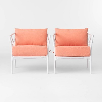 Pomelo 2pk Patio Club Chair - Coral - Opalhouse™