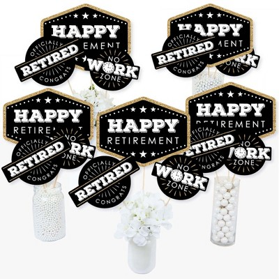 Big Dot of Happiness Happy Retirement - Retirement Party Centerpiece Sticks - Table Toppers - Set of 15