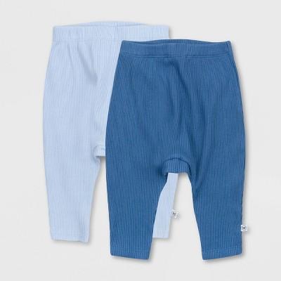Honest Baby Boys' 2pk Organic Cotton Chunky Rib Harem Pull-On Pants - Blue 0-3M