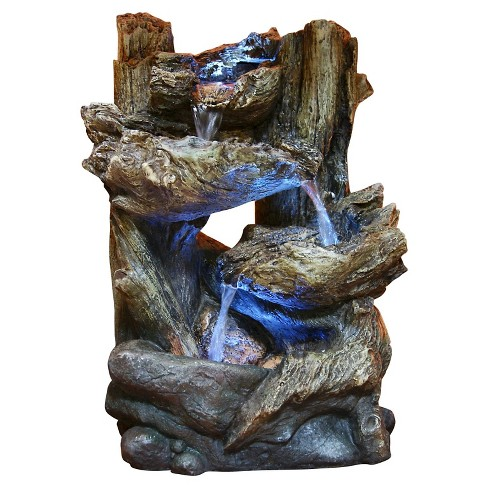 """Alpine Corporation 14"""" 5-Tier Rainforest Fountain With LED Lights - Brown - image 1 of 4"""