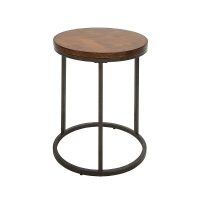 """18"""" Edie Round Thick Top Accent Table Chestnut Brown/Silver - Carolina Chair & Table"""
