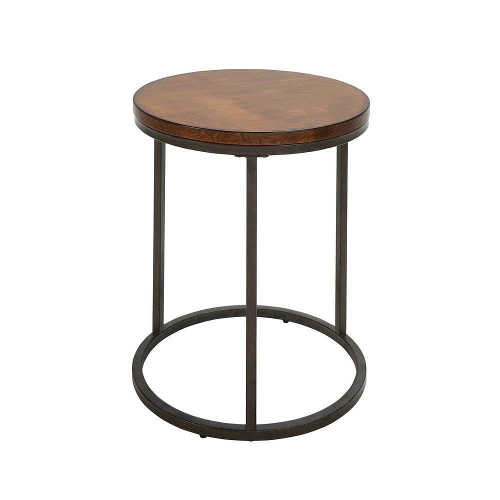 "Image of ""18"""" Edie Round Thick Top Accent Table Chestnut Brown/Silver - Carolina Chair & Table"""