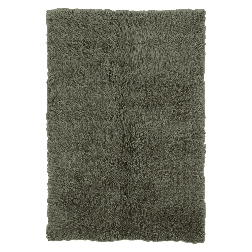 Image of 100% New Zealand Wool Flokati Accent Rug - Olive (2'X6'), Green Green