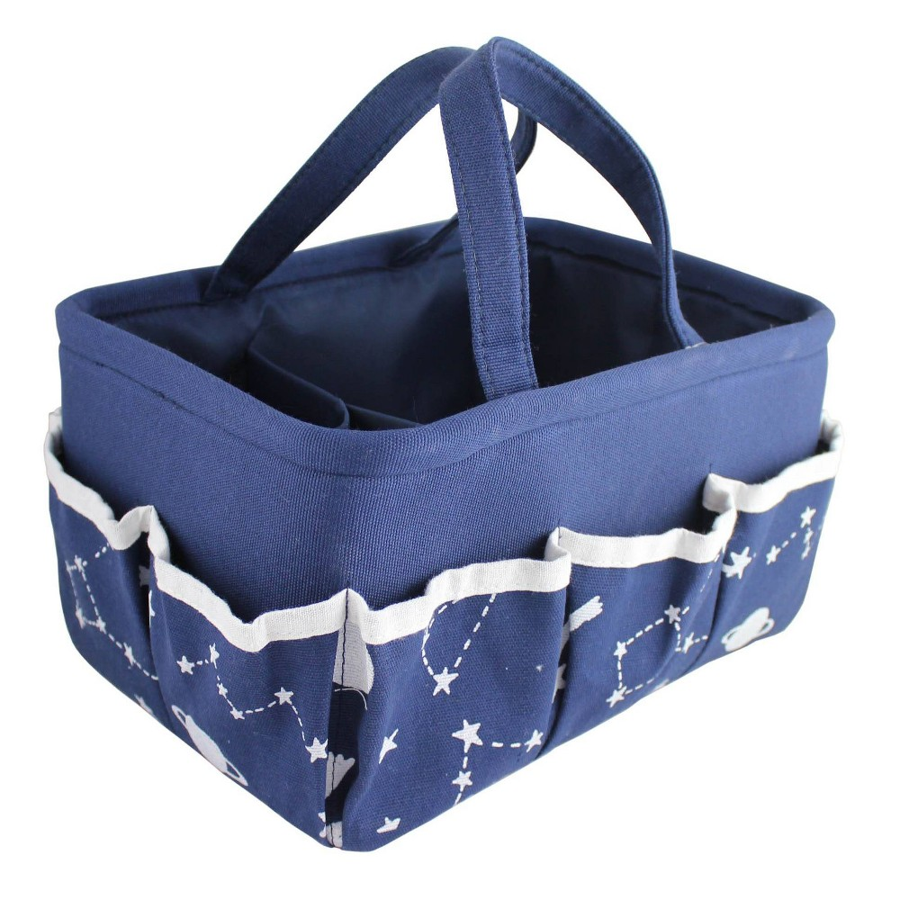 "Image of ""Beriwinkle linen """"All Over Moon and Cloud"""" Print Diaper Caddy - Navy"""