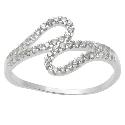 1/2 CT. T.W. Round-Cut CZ Pave Set Tear Drop Loop Ring in Sterling Silver - image 1 of 2