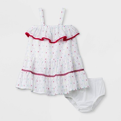 Baby Girls' Lurex Clipspot Dress - Cat & Jack™ White Newborn