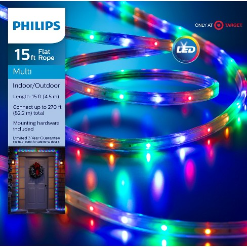 philips 135ct christmas led rope string lights multicolored target