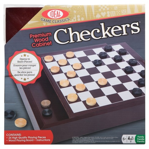 Ideal Premium Wood Cabinet Checkers Game - image 1 of 6