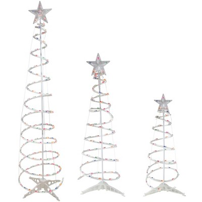 Northlight Set of 3 Pre-Lit Spiral Christmas Trees - 3, 4, 6' - Multi Color Lights
