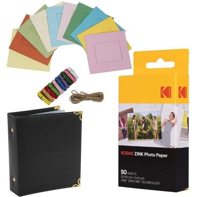 "KODAK 2""x3"" Premium Zink Photo Paper (50 Sheets) + Colorful Square Hanging Photo Frames + Photo Album (Compatible Printomatic)"