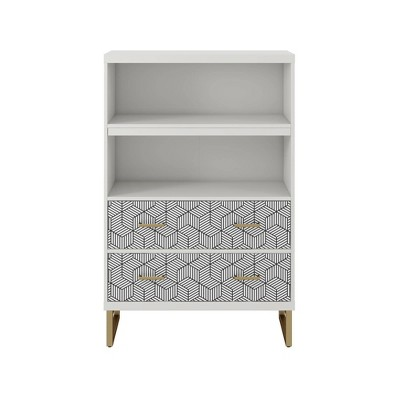 Scarlett Bookcase with Drawers White - CosmoLiving by Cosmopolitan